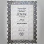 Certifikát - Jana Cindlerová