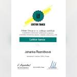 Certifikát - Johanka Řezníčková